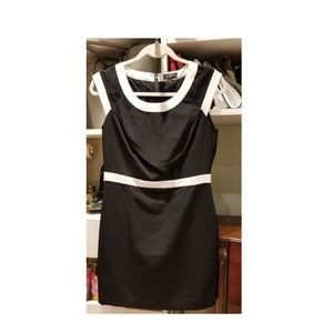 Black Dress with White Trim Design